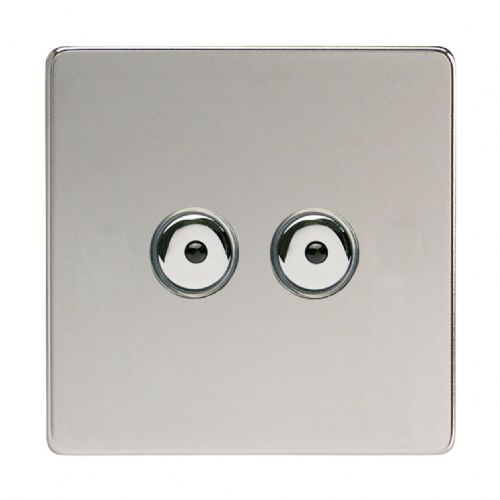 Varilight IJDCI102S Screwless Polished Chrome 2 Gang 1-Way Remote/Touch Master LED Dimmer 0-100W